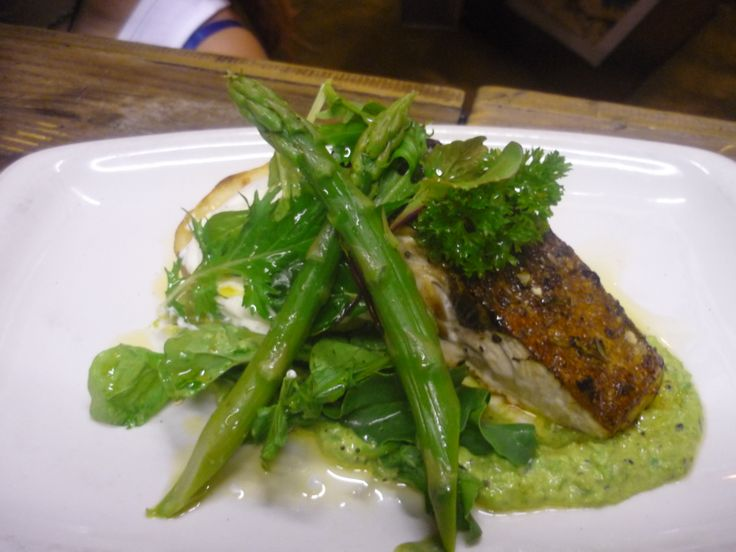 Grilled yellowtail served with baked potatoes, minty pea puree, asparagus & lemon infused sour cream #bombaybicycle
