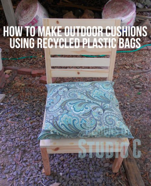 How To Make Custom Outdoor Cushions Using Recycled Plastic Bags...http://homestead-and-survival.com/how-to-make-custom-outdoor-cushions-using-recycled-plastic-bags/