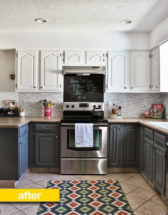 Kitchen Before After From Blah Brown To Gray And White For 700 The Home Pinterest Cabinets Remodel