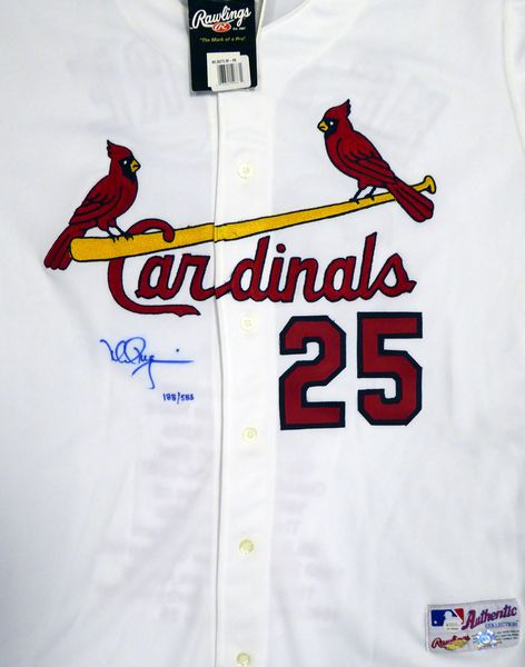 St. Louis Cardinals Mark McGwire Autographed White Majestic Jersey With Stats On Back Limited Edition #/25 - Steiner COA