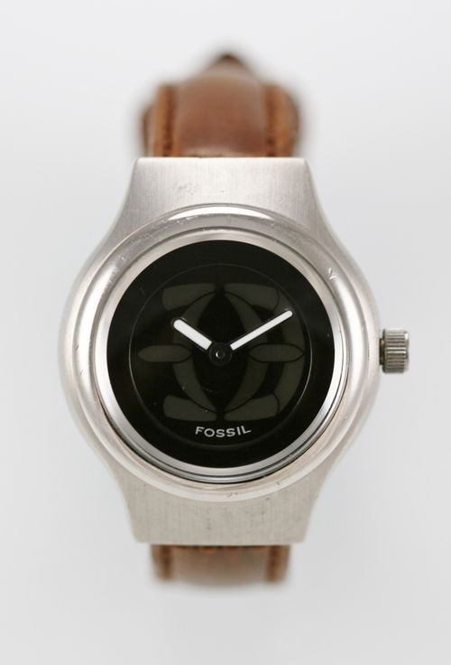 Fossil Big Tic Womens Watch Stainless Steel Silver Leather Brown 50m Quartz