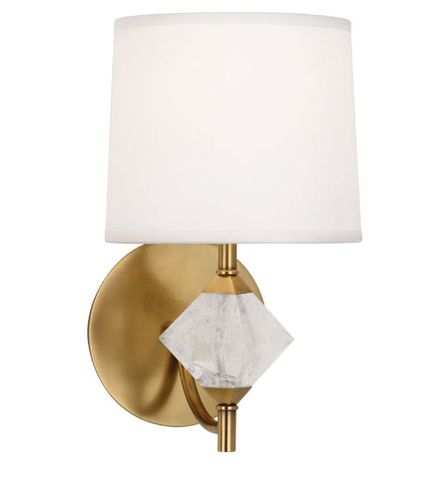 juliet wall sconce in aged brass by robert abbey bulb type candelabra switch onoff line switch 24 cord coverdirect wire aged brass finish rock crystal