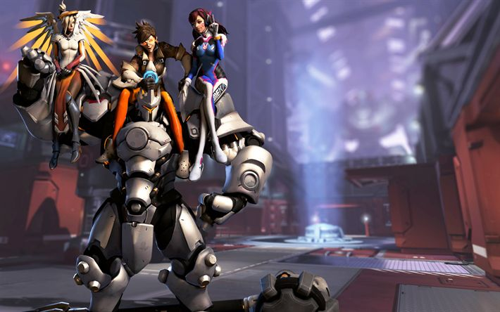Download wallpapers Overwatch, 4k, characters, cyborg, Dva, Tracer, Mercy