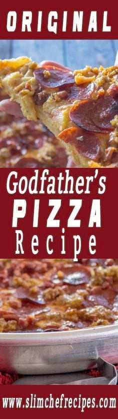 The original Godfather's pizza is the best pizza ever made. This copycat Italian Chicago style deep dish recipe is intended to recreate that amazing vintage taste. The crust is thick and the cheese is gooey. The toppings include pepperoni, sausage, prosci