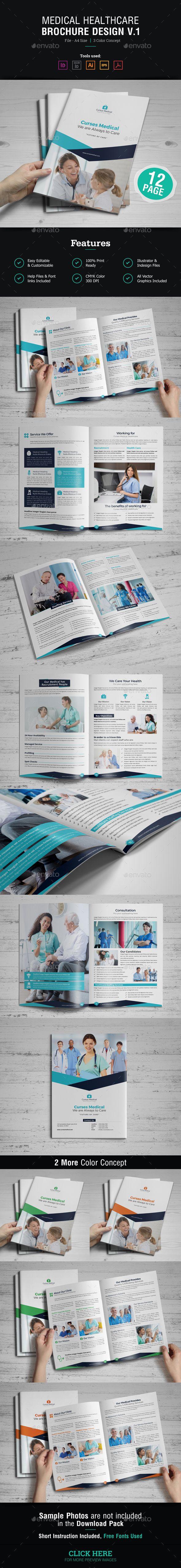 Medical HealthCare Brochure Template Vector EPS, InDesign INDD, AI Illustrator