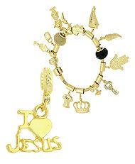 Berloque I LOVE JESUS folheado a ouro (Pandora inspired)-Clique para maiores detalhes