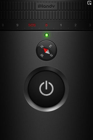 Flashlight iPhone App with a built-in compass and a swipe-function for strobe light. By iHandy Inc.