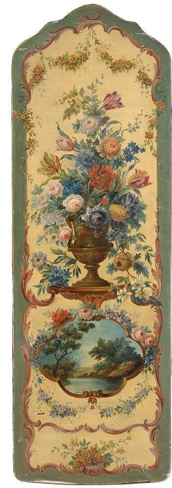 Dekoratives Wandpaneel 19. Jhdt. Öl/Lwd., 155 x 51 cm