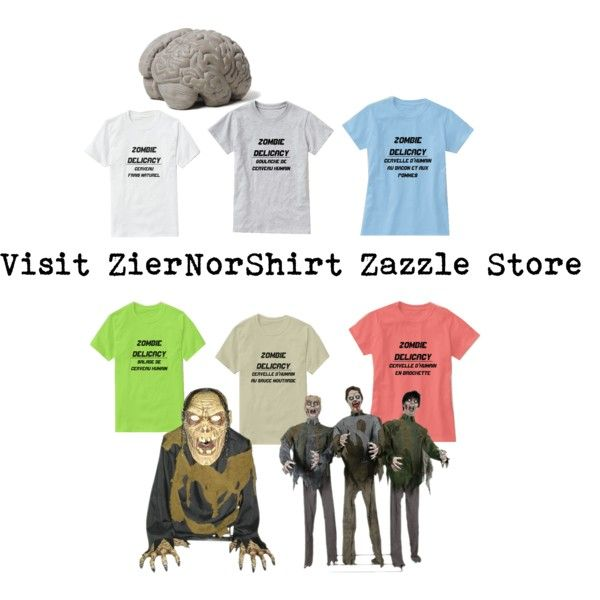 Take a look at ZierNorShirt Zazzle Store. Zombie Delicacy T-Shirt by ziernor on Polyvore featuring art