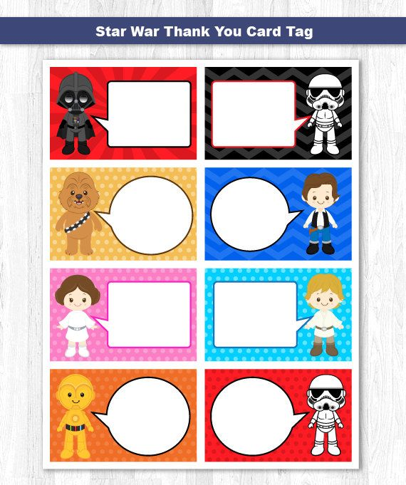 Star Wars Thank You Tag Star Wars Thank You Card Star Wars