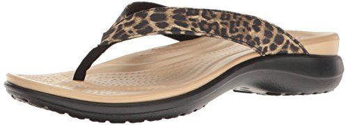 These Crocs Flip Flop Sandals with some added bling in leopard features a prettier, thinner leather strap with a microfiber lining for a comfortable fit.  The deep heel cup and the croslite foam footbed on top of croslite foam provide added comfort and support.