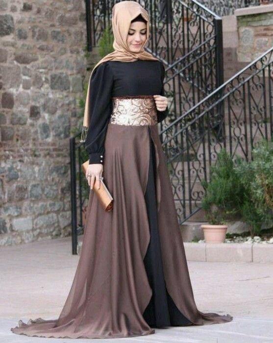 Siyah Kahve Altın Kombini Tesettür Abiye Elbise