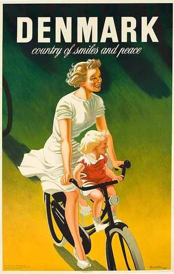 DP Vintage Posters - Denmark Country of Many Smiles Original Danish Travel Poster Mother Child on Bike