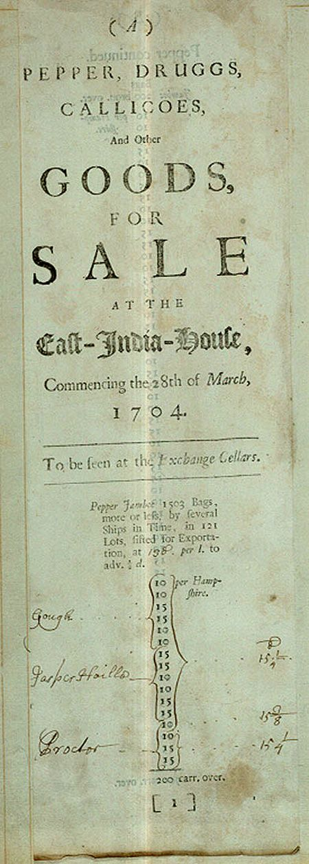 Source: British Library British East India Company advertisement of curiosities of the day - 1704