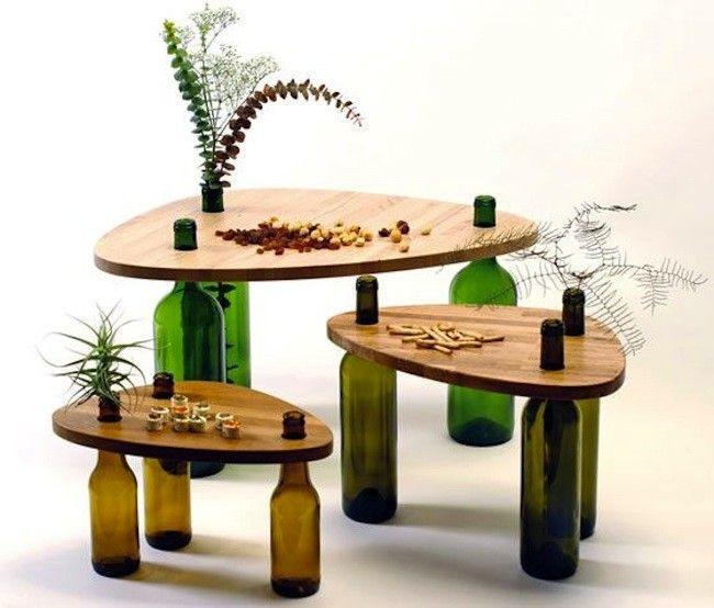 Recicladecoración: un juego de mesas con botellas de vino …