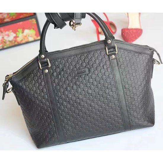 85b20ada35c Black Signature Leather Top Handle Bag 449655