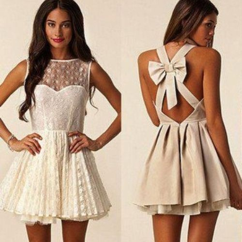 Lace in front and adorable bow in back! > The skirt could be longer for my taste but cute nonetheless