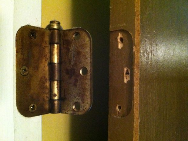 Picture of How to repair stripped screw holes for a door hinge.