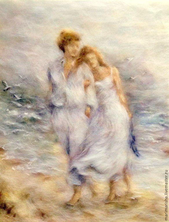 Купить Картина из шерсти С любимыми не расставайтесь - голубой, картины из шерсти, живопись шерстью, Живопись