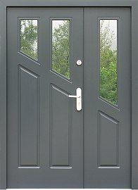 Drzwi zewnętrzne dwuskrzydłowe drewniane model  904,2 w kolorze szare