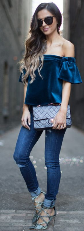 Mia Mia Mine Off The Shoulder Sapphire Velvet Top Holiday Style Inspo #Fashionistas