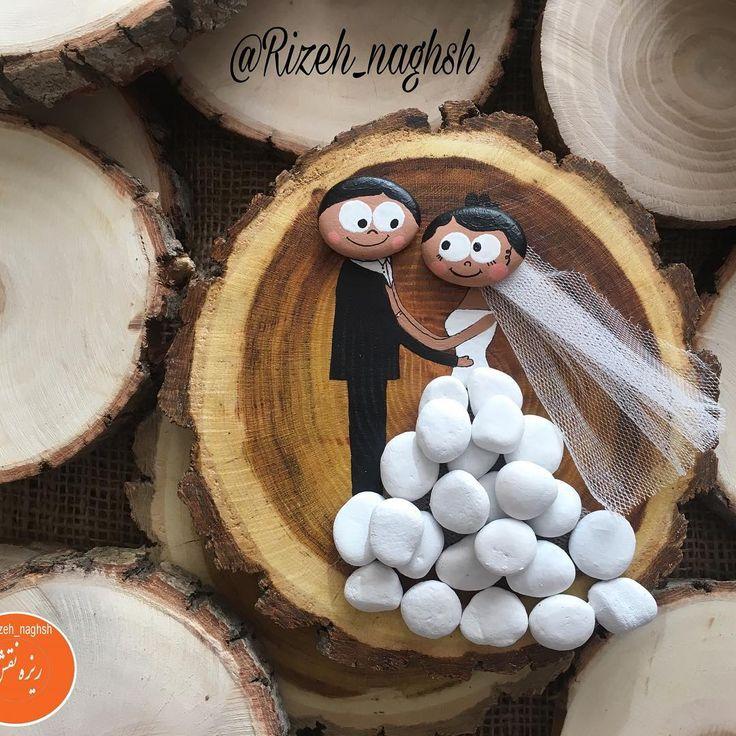 دیوار کوب عروس و داماد #نقاشی_روی_چوب #نقاشی_روی_سنگ #هنر #هنرمند #صنایع_دستی #stonepainting #woodpainting #woodslice #art #handicraft #crafts