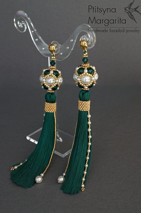 old price $59 - NEW PRICE $ 50.15 The offer is valid till September 2016  Long tassel earrings Emerald, earrings with tassels, beaded earrings, bead woven earrings, bead weaving earrings, beadwork earrings  READY TO SHIP  The upper part of the earrings is a beaded bead, made of Swarocski pearl, Czech seed beads and one Swarovski bicone beads. Lower part is a tassel, that I made of 100% rayon and its decorated with seed beads and Swarovski pearls as well. Tassels are light and flexible…