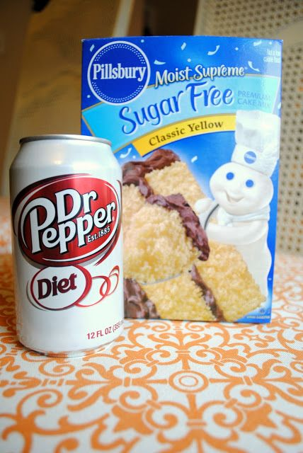 SUGAR FREE CAKE (Brownies and cola turned out great, maybe this will too!) Just 2 ingred. Sugar Free cake mix and 1 can Dr.Pepper. That's it!  Great diabetic cake.