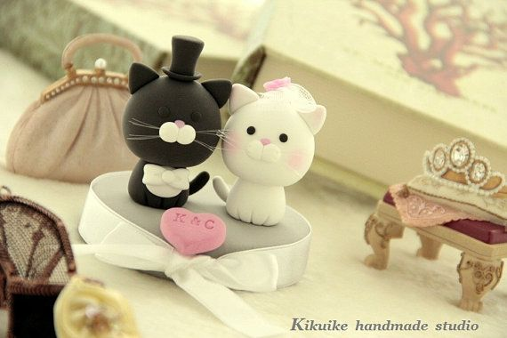 Lovely cat and  kitty Wedding Cake Topper by kikuike on Etsy. , via Etsy.