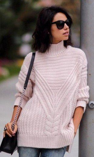 Пуловер из жгутов спицами