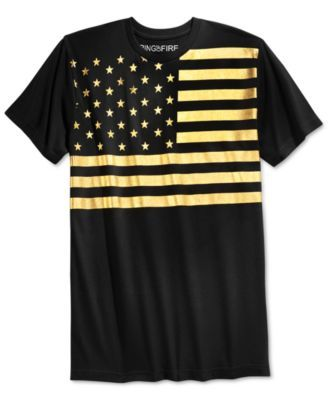 A gleaming American flag graphic adds shining patriotic spirit to a comfy Men's cotton T-shirt by Ring of Fire. | Cotton | Machine washable | Imported | Crewneck | Graphic at front | Web ID:2337609