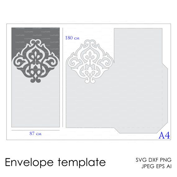envelope template instant download cutting file  svg  dxf