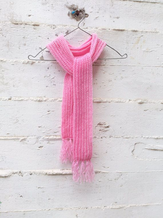 Hand knit pink long scarf  Knit scarf Long scarf Warm by GuruMIme
