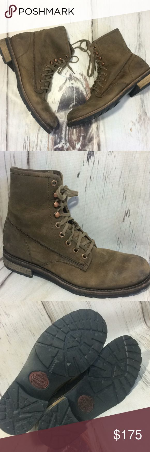 Wolverine 1000 mile men's brown leather boots 9D Wolverine 1000 Mile Rockport, MI Stock No. W00920. Size 9D. Minor scuffing and signs of wear. Welt Construction. Men's brown leather lace up boots. Wolverine Shoes Boots