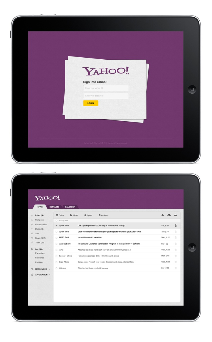 upcoming yahoo mail ipad app application 2013.