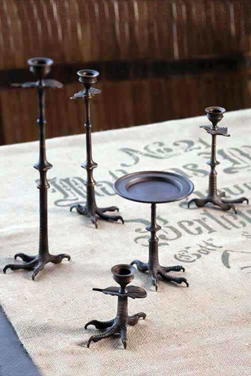 Mothology's claw-foot collection: candlesticks and pedestal dish by Vagabond Vintage