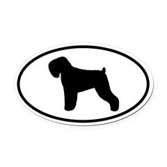 Black Russian Terrier Silhouette Oval Car Magnet