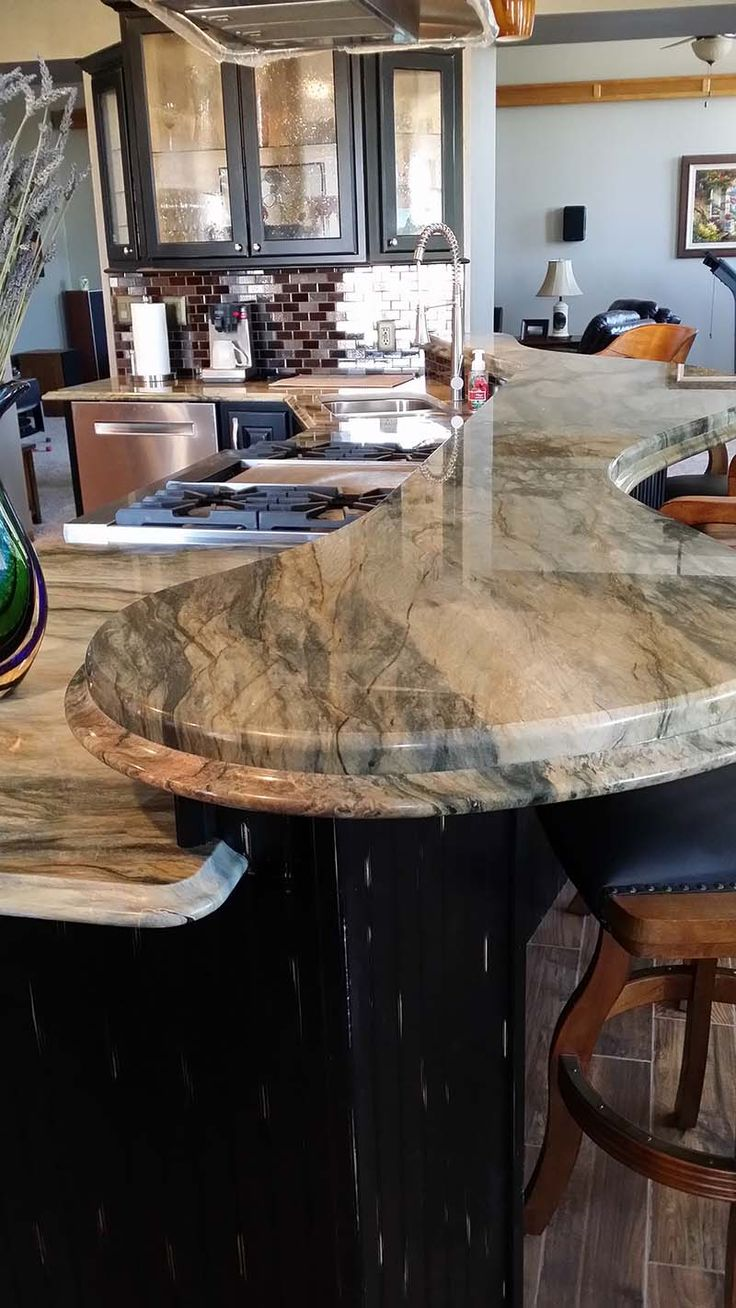 Shivakashi granite countertops slab and prices living rooms gallery - Beautiful Kitchen Remodel Using Fusion Quartzite A Custom Stacked Edge Created By Renaissance Granite Quartzite Countertopsbeautiful