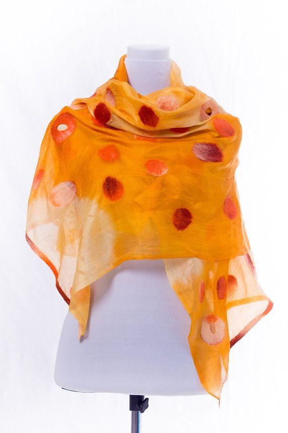 Nuno vilten zijden sjaal, lente, zomer zijde wol nunofelted sjaal, Gevilte omslagdoek, Gevilte eco wollen sjaal, cadeau-idee, ketting sjaal