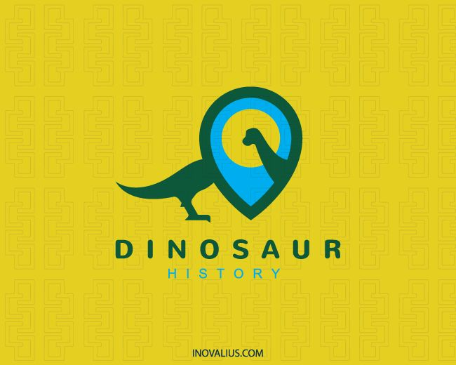 Stylized logo with the shape of a dinosaur in conjunction with a map icon with blue, yellow, and green colors.( education, dinosaur, historical, prehistoric, map, point, history, sun, kids, museum, antique, dinosaur museum, dinosaur park, dino,  logo for sale, logo design, logo, lototipo, logotype).