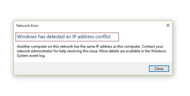 Windows Has Detected An Ip Address Conflict Full Fix Windows