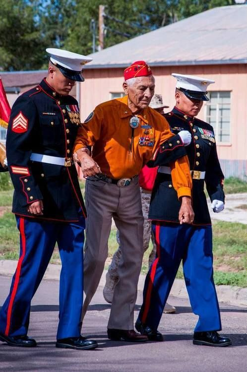 Roy Hawthorne, former USMC Navajo Code Talker. Roy walked the 2-mile parade route. Two Navajo Marines are helping him with the last 1/2 mile.
