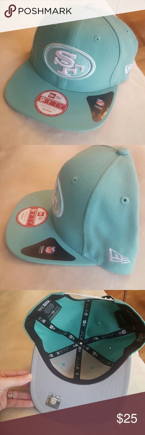 NEW SF 49ers NFL Mint green snapback hat NWT Awesome 49ers snapback hat original fit, original NFL team headwear, one-size-fits-most comma for men or women. Great gift for any 49ers fan! NFL Accessories Hats