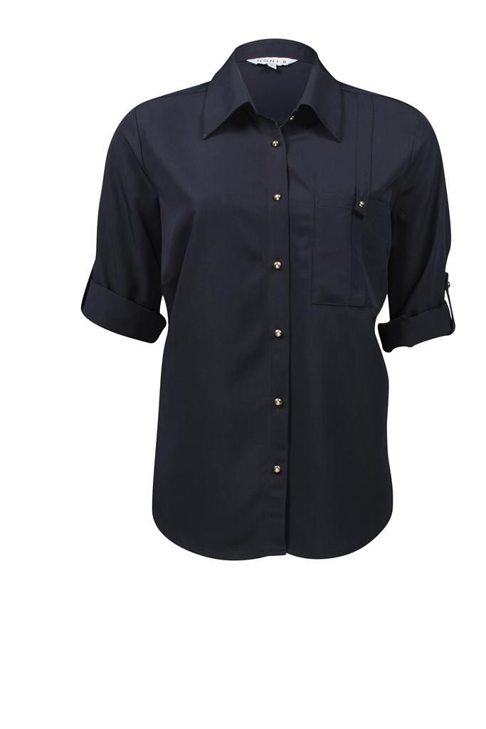 Noni B 3/4 Sleeve Roll Up Shirt $69.95 AUD  3/4Sleeve Roll Up Shirt with left side pocket, Gold button detail 75% Rayon , 25% Polyester Item Code: 047890
