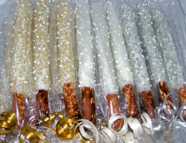 Pretzel Rods Chocolate Covered Pretzel Rods White Gold Silver Crystals and White Pearls Wedding Favors Baby Shower 1 dozen by MarieGrahams on Etsy https://www.etsy.com/listing/176869621/pretzel-rods-chocolate-covered-pretzel
