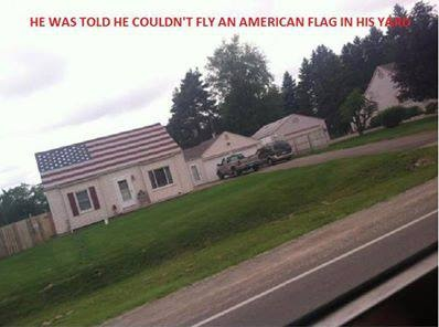 THIS IS AMERICA, FLY YOUR FLAGS!! A former American soldier was told he could not fly an American flag in his yard. I think he found a way around it. Like and share if you believe every American has the right to own and fly the American flag.