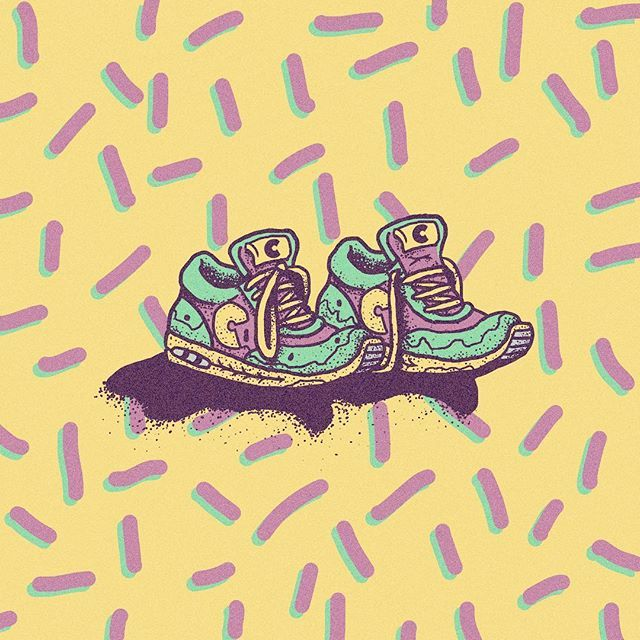 Hottest new silhouette circa 1991 - #lowbrowart #art #sneakers #90sfashion #90s #fashion #shoes #skate #surf #run #nike #newbalance #brutsubmission #artoftheday #instaart #adidas #pattern #colors #illustration #kicks #sneakerhead #clothing #footwear #apparel #throwback #nineties #classic