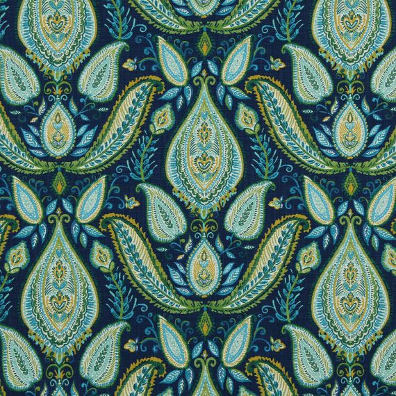 Peacock Blue Paisley Fabric