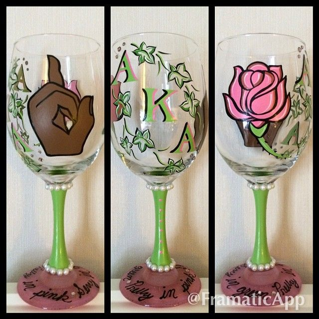 AKA hand-painted wine glass