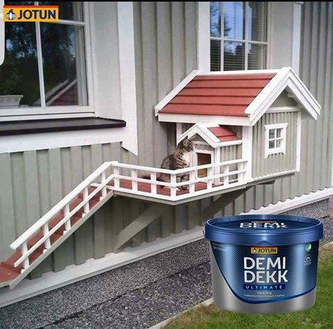 Ook deze kat kiest voor #Jotun Demidekk Ultimate Täckfärg. Tot wel 12 jaar onderhoudarm! Kiest u voor #hout dan kiest u voor Jotun!